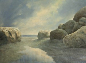 large original painting of coastal scene