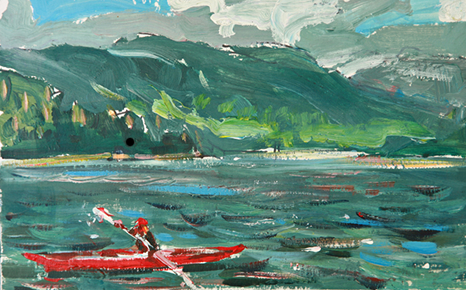 Summer sketch down by Kootenay Lake. Kayaker flies by and is captured in a moment with a few