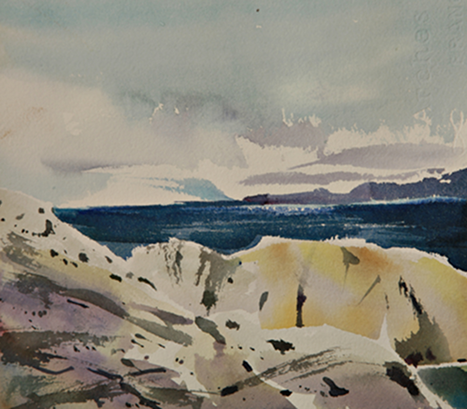 Watercolor of ocean by Dallas Road in Victoria BC