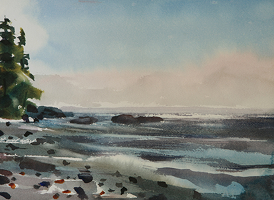 Watercolor of ocean sunset