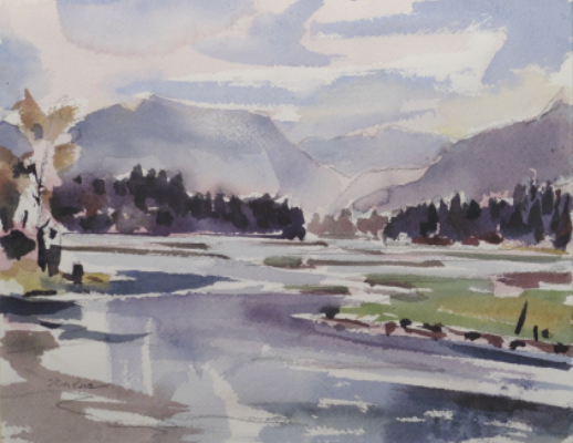 Watercolour of early Spring river scene in the Slocan Valley B.C. Canada