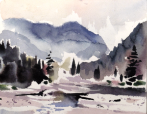 Painting in watercolour of river scene.
