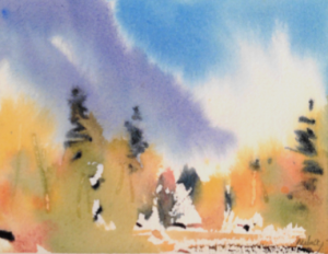 paint in watercolour, virtual art show, online art for sale, mountain picture,