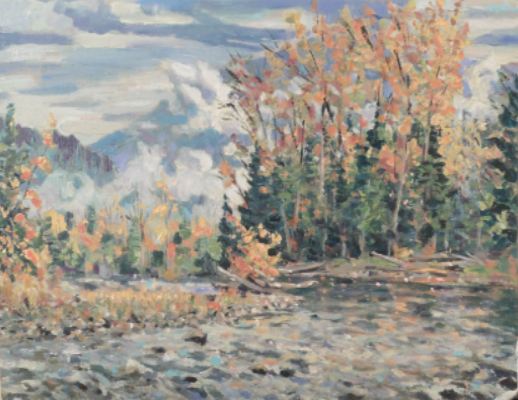 Painting in acrylics, how to paint river scenes, virtual art show,